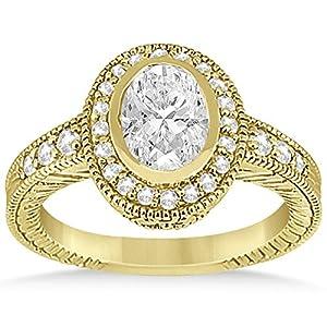 Allurez - Oval Halo Verlobungsring Einstellung W / Diamant Akzente 18K Gold-0.36ct Y.