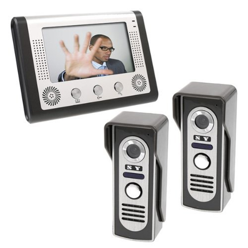 7 Inch Lcd Home Security Video Door Phone Doorbell Intercom Kit 1 Indoor Monitor And 2 Outdoor Cameras