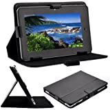 "GadgetMania® New 7 Inch Black [ STAND ] Synthetic Leather Case Neoprene Netbook Sleeve Case Pouch Protective Cover Case for 7"" Tablet PC ePad aPad Google Android Nexus 7 - Black (7"")"