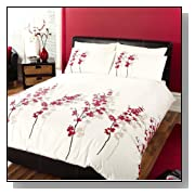 STUNNING PARADISE FLORAL RED WHITE FULL COTTON DUVET SET QUILT COVER *CUR*