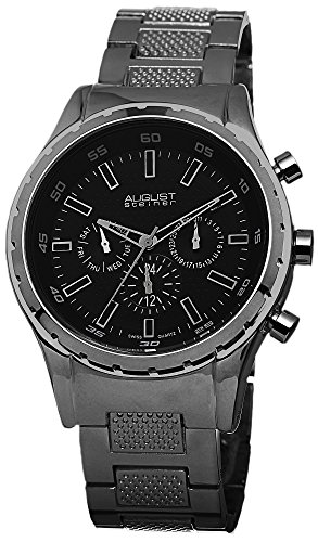 Details for August Steiner Men's AS8105BK Swiss Quartz Multifunction Black Dial Gun Bracelet Watch
