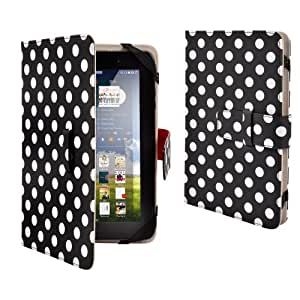 "Black & white polka dot Dots Premium PU Luxury Leather Folio Flip Case Cover Protection Skin For 7"" 7 inch Android Tablet PC, ASUS GOOGLE Nexus 7, 2.2 EASY TAB, MID, Apad, Epad, 7 inch Amazon kindle fire, Blackberry playerbook, Huawei Mediapad, T-Mobile SpringBoard 7"", Kobo Vox, Kobo Arc ,Samsung Galaxy Tab SCH-i800, 7"" Inch Samsung Galaxy Tab P1000 P6200 P3100 P3113 P3110, 7"" Archos Arnova 7F G3 ,Asus Google Nexus 7"" ,7"" CAPACITIVE MULTI TOUCH ANDROID 4.0 Tablet PC ,Acer Iconia A100 7"",NOOK COLOR Universal"
