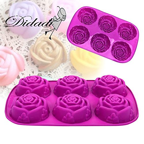 6 Cavity Rose Flower Candy Treats Cake Maker Mold. Chocolate Soap Mold. Baking Pan, Bake ware - Food Grade Silicone. By DidaDi Color: Violet Purple (Lips Cake Pan compare prices)