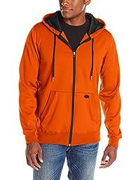 Dickies Men\'s Work Tech Fleece Full Zip Hoodie, Neon Orange, XX-Large
