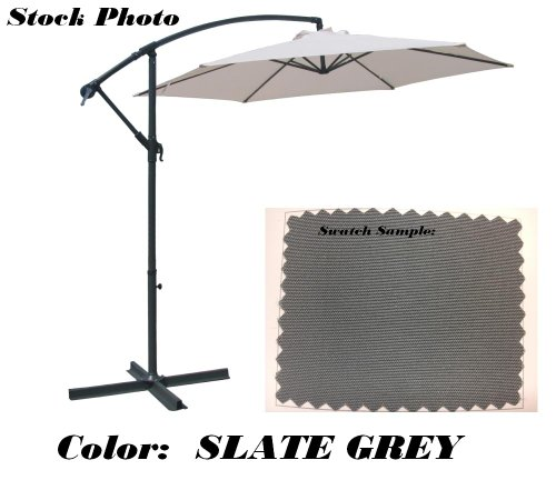 Offset Patio Umbrella Off Set Outdoor Market Umbrella 10' Ft Polyester, Grey front-236137