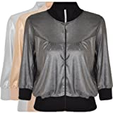 Miss Posh Womens Cropped 3/4 Sleeve Bomber Jacket