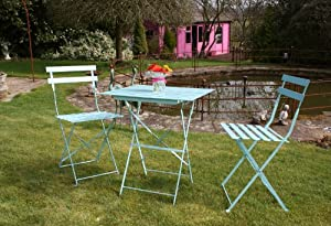 3 PIECE METAL GARDEN BISTRO SET SQUARE TABLE & 2 CHAIRS - BLUE