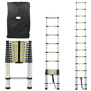 Linxor FRANCE - Echelle Télescopique PRO de 87cm à 3.80 mètres en Aluminium + Housse de Transport - Norme EN131 - GARANTIE 2 ANS