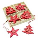 Set of 12 Red Wood & Gingham Christmas Decorations