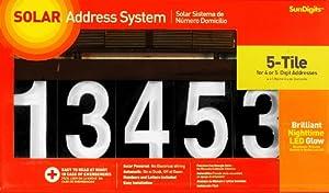 sundigits 5 digit solar led house number. Black Bedroom Furniture Sets. Home Design Ideas