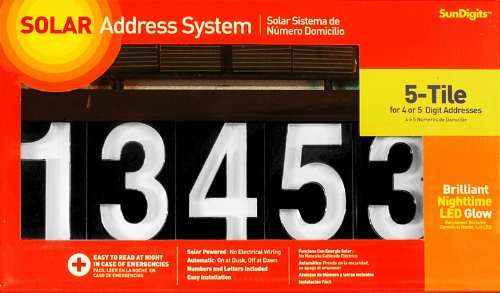 Sundigits 5 Digit Solar Led House Number (Led Numbers compare prices)