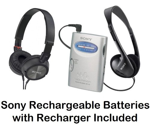 Sony Walkman Portable Lightweight Am Fm Stereo Radio With Belt Clip, Over The Head Stereo Headphones, Pressure Relieving Studio Monitor Headphones (Black) & Sony Rechargeable Batteries With Recharger