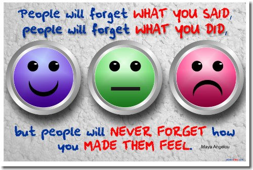 Smiley faces showing people will forget what you said quote by Maya Angelou