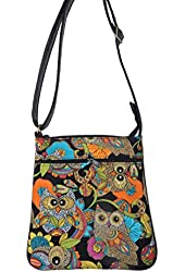 """US HANDMADE FASHION CROSS BODY WITH """"OWLS NESTS"""" PATTERN SHOULDER BAG WITH ADJUSTABLE HANDLES, COTTON, NEW, CSOP 5127"""