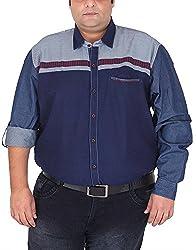 Xmex Men's Cotton Shirt (KR-704RED, Red, XXXX-Large)