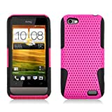 Aimo Wireless HTCONEVPCPA005 Hybrid Armor Cheeze Case for HTC One V - Retail Packaging - Black/Hot Pink