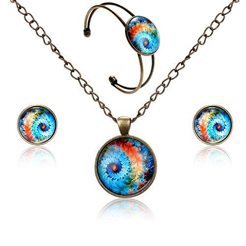 Lureme Orecchini pendenti a disco serie gioiello prigioniera tempo braccialetto aperto bracciale e collana pendente set di gioielli per le donne e le ragazze (09000438) (paesaggio mare)
