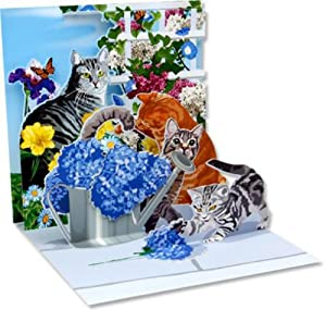 Pop-Up Greeting Card Cats and Flowers Up With Paper #1007
