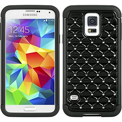 VMG 3-Item RETRACTABLE Wall Charger Combo Bundle for Samsung Galaxy S5 S V / S 5 GS5 (5th Gen) Gem Bling Studded Diamond Design Cell Phone Case Cover - Black/Black + LCD Clear Screen Saver Protector + Compact Retractable Tangle-Free Home Wall (Wall Outlet) Travel Charger discount price 2015