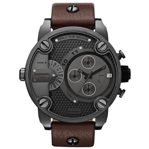 Only The Brave Chronograph Dual Time Zone Dial Brown Leather Mens Watch DZ7258