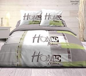 centpourcentcoton housse de couette 240x260 cm 2 to 63x63 cm nature home 47. Black Bedroom Furniture Sets. Home Design Ideas