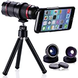 DAOTS iPhone 6s/iPhone 6s Plus/iPhone 6/iPhone 6 Plus Camera Lens Kit for Apple iPhone 6s/iPhone 6s plus/ iPhone 6/ iPhone 6 Plus Including 4X-12X Zoom Telephoto Lens/ Fish Eye Lens/ 2 in 1 10X Macro & 0.65X Wide Angle Lens, 1-Year Warranty