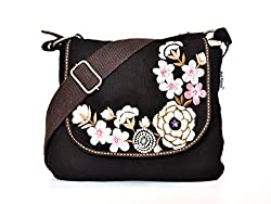 Pick Pocket brown canvas sling bag with white embroidery