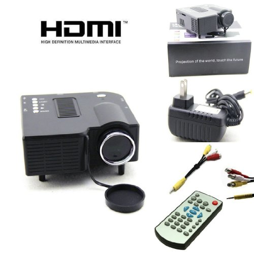 "Bestcrew® New Uc28 Pro Hdmi Mini Hd Home Led Projector 60"" Home Cinema Theater, Pc Laptop Vga Input Usb Black front-67345"