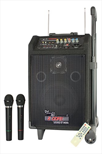 5 Core Trolley Type PA Personal DJ System also known as Rechargeable Portable Amplifier with Remote-Controlled 2 Wireless Microphones rendering High Volume & power output of 100W with an inbuilt speaker & battery, AC/DC operation, high-frequency FM receiver, LED display, USB/AUX functions & Guitar Input