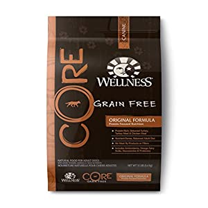 Wellness CORE Natural Grain Free Dry Dog Food, Original Turkey & Chicken Recipe, 12-Pound Bag