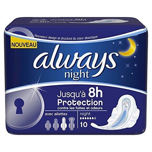 Sempre di notte assorbenti con le ali, 10 pezzi per confezione, 4 confezioni