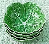 Set of 4 Cereal Bowls Bordallo Pinheiro Green Cabbage Leaf Majolica Portugal