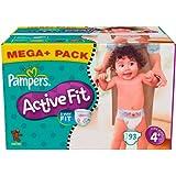 Pampers Active Fit Windeln Gr.4+ Maxi Plus 9-20kg Mega plus Pack, 93 Stück