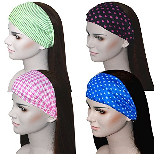Fashion Yoga Bandana Headbands Athletic Sports Sweatbands Moisture Wicking headband Great for Workout Yoga Fitness Set of 4