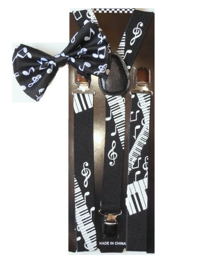Men Unisex Awesome PIANO NOTES Bowtie and Suspenders Set - Adjustable