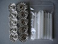 10 Metal Silver Clip On Candle Holders & 10 White Twisted Candles on Christmas Tree NEW
