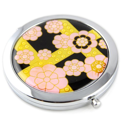 Cherry Blossom Gel Inlay - Steel Compact Pocket Mirror With Regular And Magnify Dual Sided Mirror - Pink & Yellow