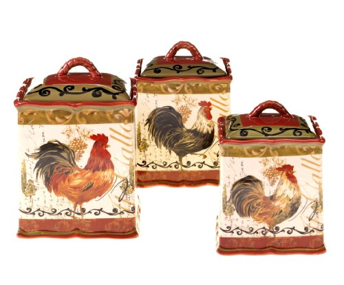 Red Rooster Canister Set