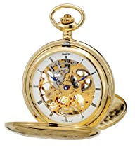 Avalon Imperiale Series 17-Jewel Hand-Wind Gold-Tone Skeleton Pocket Watch with Chain # 8800GX