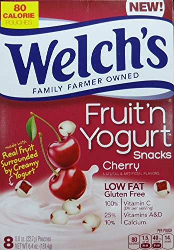Welch's Cherry Fruit n Yogurt Snacks, 8 Pouches, 6.4 Oz (181.4g) 2-Packs (Fruit And Yogurt Snacks compare prices)