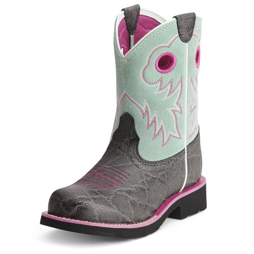 Ariat Girls' Elephant Print Fat Cowgirl Boot Round Toe