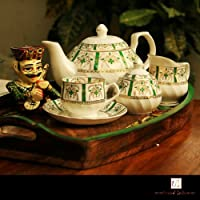 Unravel India Bone China Tea Set Green And White With Golden Work