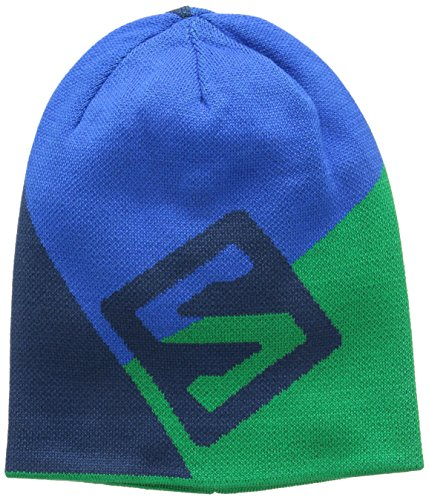 Salomon berretto Beanie Flat Spin double-face, Union Blue/Real Green/Midnight Blue, Uni, L37556900