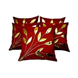 FabLooms Rust N Golden Leaf Design Cushion Covers - Set Of 5 (40.64 X 40.64 CM)