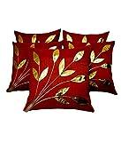 FabLooms Rust N Golden Leaf Design Cushion Covers - Set of 5 (40.64 x 40.64 CM)