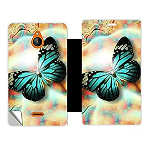 Skintice Designer Flip Cover with a hi res printed Vinyl Wrap around for Nokia X2, Design Green Butterfly