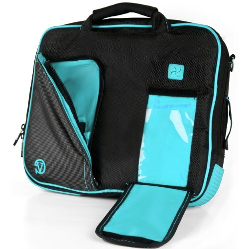 Read About VanGoddy Pindar Sling PRO Deluxe Shoulder Messenger Carrying Bag BLACK & AQUA BLUE fo...