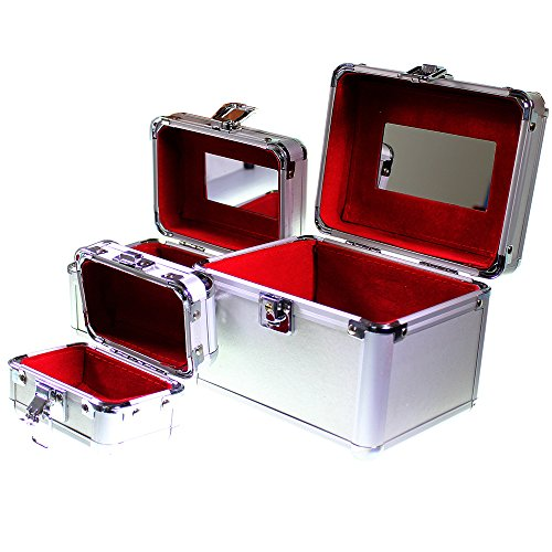 Nesting Trio Of Vanity Cosmetic Jewellery Make Up Case Storage Box Set Of 3 In Silver By Kurtzy Tm front-282373