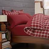 Pinzon Lightweight Cotton Flannel Duvet Cover - Full/Queen, Bordeaux Plaid