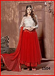 Rozdeal Women Net Embroidered Unstitched 3/4 Sleeve Red Anarkali Suit